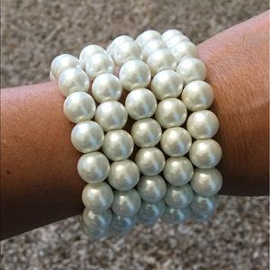 Faux Pearl 10mm Stockable bracelets/ Wedding acces